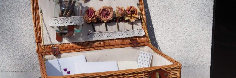 Vintage Koffer für Dankeskarten auf Hochzeit