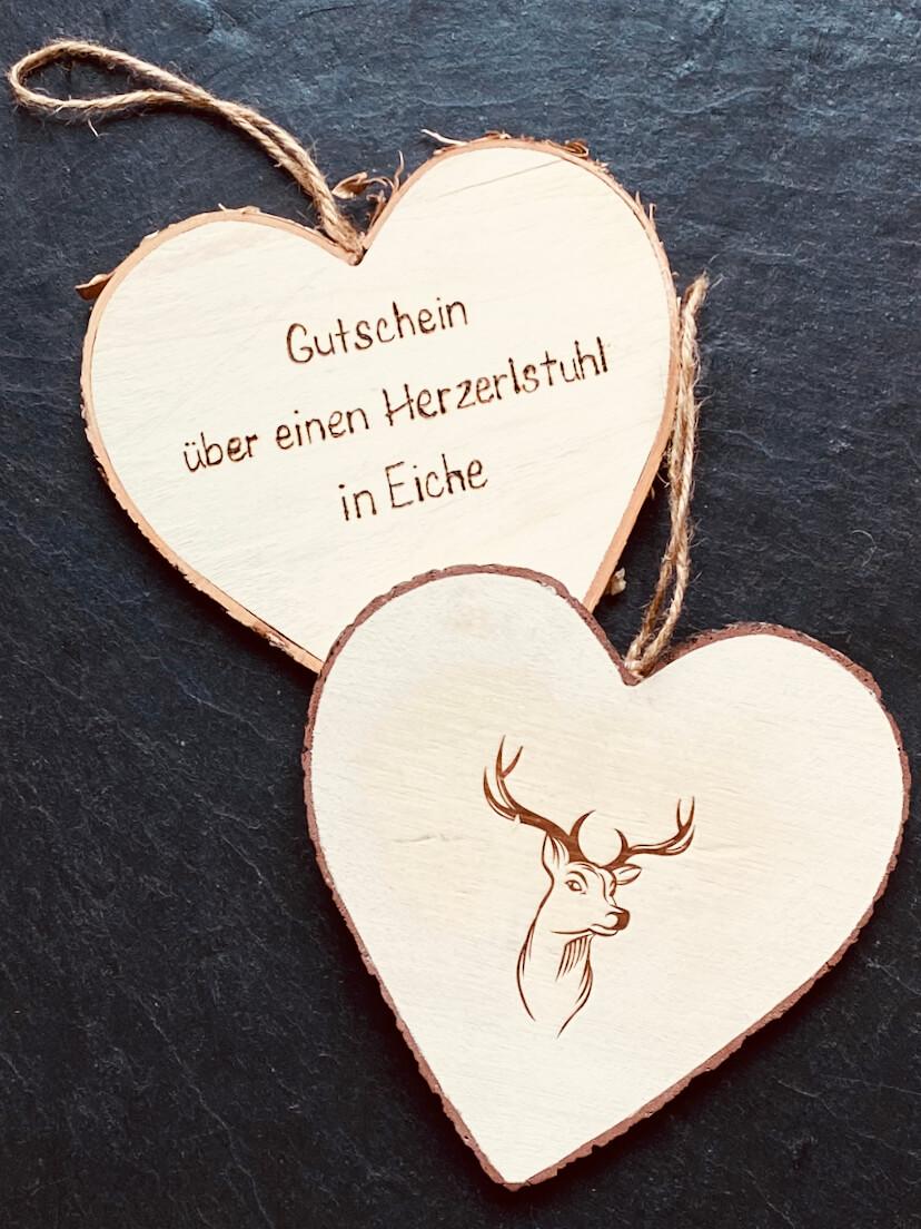 Geschenkgutschein aus Holz