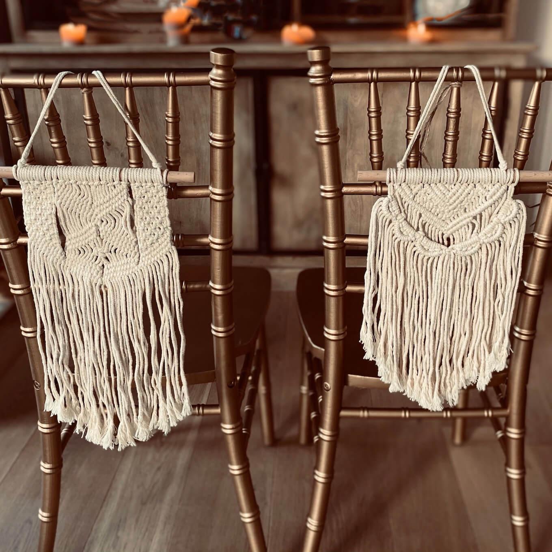 Makramee Deko an Chiavari Stühle Traustühle
